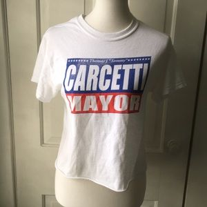 """Carcetti for Mayor """"The Wire"""" White Crop Top Tee"""